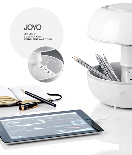 Lampada Joyo, 3 porte USB, Vano portaoggetti,
