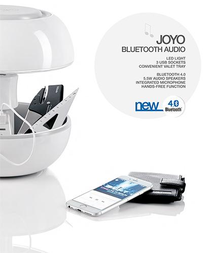 Lampada Joyo, 3 porte USB, Vano portaoggetti, Bluetooth, 5 speakers, Microfono
